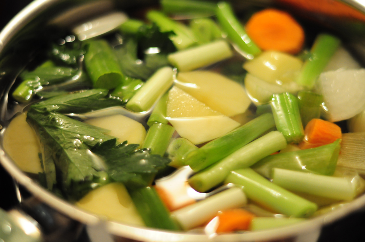 お鍋に入れたお肉と野菜